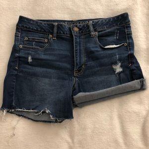 American Eagle high rise shortie jean shorts